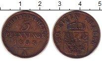 Изображение Монеты Германия Пруссия 3 пфеннига 1858 Медь XF