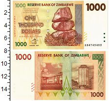 Изображение Банкноты Зимбабве 1000 долларов 2007  UNC
