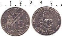 Изображение Монеты Франция 5 франков 1994 Медно-никель XF Вольтер.