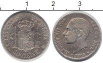 Изображение Монеты Европа Испания 50 сантим 1880 Серебро XF-