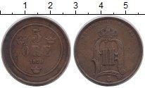 Изображение Монеты Швеция 5 эре 1876 Бронза XF-
