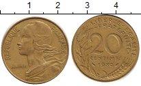 Изображение Дешевые монеты Франция 20 сантим 1989 Латунь XF-