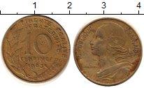 Изображение Дешевые монеты Франция 10 сантим 1963 Латунь VF
