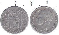 Изображение Монеты Испания 50 сентим 1885 Серебро VF Альфонсо XII