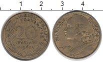Изображение Дешевые монеты Франция 20 сантим 1967 Латунь VF+