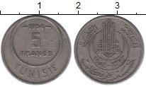 Изображение Монеты Африка Тунис 5 франков 1954 Медно-никель XF