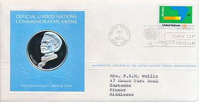 Изображение Подарочные монеты США Медаль ООН 1973 Серебро Proof