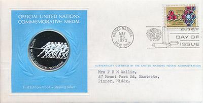 Изображение Подарочные монеты Северная Америка США Медаль ООН 1973 Серебро Proof