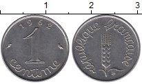 Изображение Дешевые монеты Европа Франция 1 сентим 1962 Сталь XF