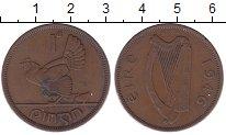Изображение Монеты Ирландия 1 пенни 1946 Бронза XF Курица  с  цыплятами