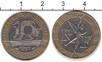 Изображение Дешевые монеты Франция 10 франков 1991 Биметалл XF