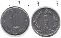 Изображение Дешевые монеты Европа Франция 1 сентим 1962 нержавеющая сталь XF