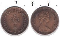 Изображение Дешевые монеты Великобритания 1/2 пенни 1971 Медно-никель VF
