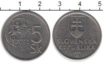Изображение Дешевые монеты Европа Словакия 5 крон 1993 Медно-никель XF