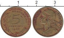 Изображение Дешевые монеты Франция 5 сантим 1966 Латунь XF