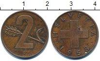Изображение Дешевые монеты Швейцария 2 раппа 1958 Медь VF