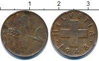 Изображение Дешевые монеты Швейцария 1 рапп 1948 Медь VF