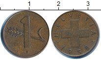 Изображение Дешевые монеты Европа Швейцария 1 рапп 1958 Медь XF