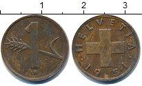 Изображение Дешевые монеты Европа Швейцария 1 рапп 1951 Медь XF