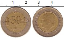Изображение Дешевые монеты Турция 50 куруш 2000 Биметалл