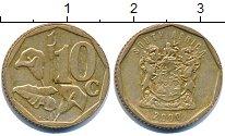 Изображение Дешевые монеты ЮАР 10 центов 2000 Латунь XF