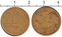 Изображение Дешевые монеты Бразилия 10 сентаво 2002 Латунь-сталь VF Педро I