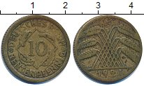 Изображение Дешевые монеты Европа Германия 10 пфеннигов 1924 Латунь VF