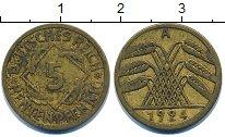 Изображение Дешевые монеты Европа Германия 5 пфеннигов 1924 Латунь VF