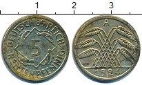 Изображение Дешевые монеты Германия 5 пфеннигов 1924 Латунь XF-