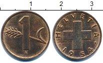 Изображение Дешевые монеты Швейцария 1 рапп 1954 Медь XF-