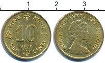 Изображение Дешевые монеты Гонконг 10 центов 1982 Латунь-сталь XF