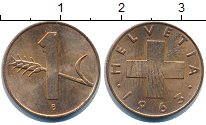 Изображение Дешевые монеты Швейцария 1 рапп 1963 Медь XF-