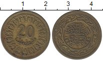 Изображение Дешевые монеты Тунис 20 миллим 1960 Латунь VF