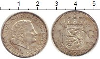 Изображение Монеты Европа Нидерланды 1 гульден 1965 Серебро XF