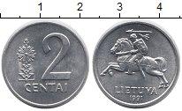 Изображение Монеты Европа Литва 2 цента 1991 Алюминий UNC