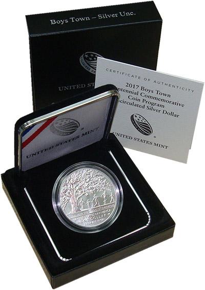 Изображение Подарочные монеты Северная Америка США Бойс Таун 2017 Серебро UNC