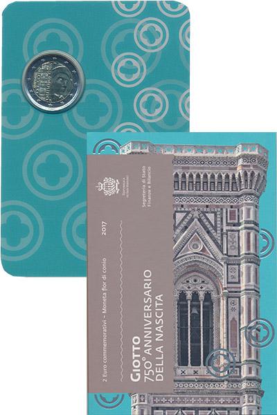 Изображение Подарочные монеты Европа Сан-Марино Джотто ди Бондоне 2017 Биметалл UNC