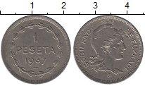 Изображение Монеты Европа Испания 1 песета 1937 Медно-никель XF-