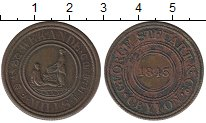Изображение Монеты Цейлон 19 центов 1843 Медь XF-