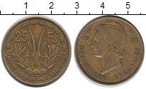 Изображение Монеты Африка Французская Западная Африка 25 франков 1956 Латунь XF