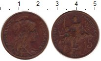 Изображение Монеты Франция 5 сантим 1915 Бронза XF