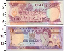 Изображение Банкноты Фиджи 10 долларов 0  UNC Елизавета II.  Народ