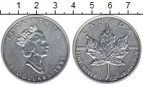 Изображение Монеты Северная Америка Канада 5 долларов 1991 Серебро UNC-