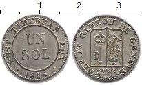 Изображение Монеты Швейцария Женева 1 соль 1825 Серебро XF+