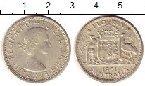 Изображение Монеты Австралия 1 флорин 1961 Серебро XF+ Елизавета II