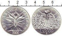 Изображение Монеты Италия 10000 лир 2000 Серебро UNC
