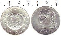 Изображение Монеты Европа Италия 2000 лир 1998 Серебро UNC