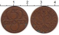 Изображение Монеты Европа Польша 5 грош 1937 Бронза XF