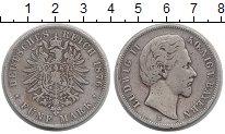 Изображение Монеты Бавария 5 марок 1876 Серебро XF- Людвиг II
