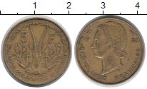 Изображение Монеты Французская Африка 5 франков 1956 Латунь XF Антилопа  Канна